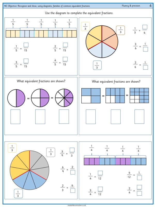 Recognise and show, using diagrams, families of common equivalent fractions - 2