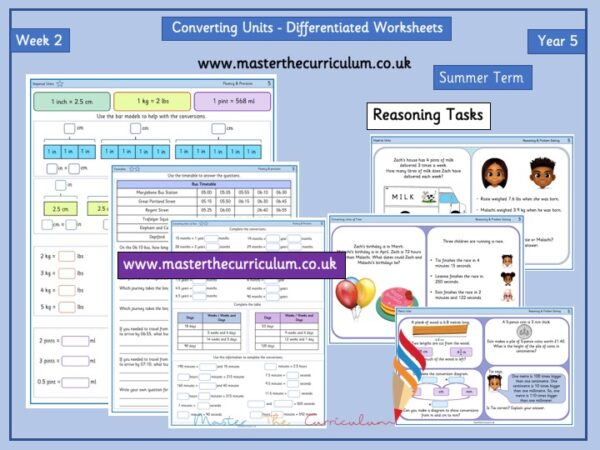 Year 5:Converting Units - Differentiated Worksheets - Week 2