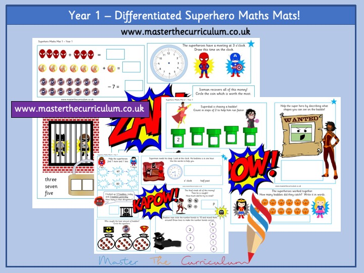 Year 1 - Differentiated Superhero Maths Mats