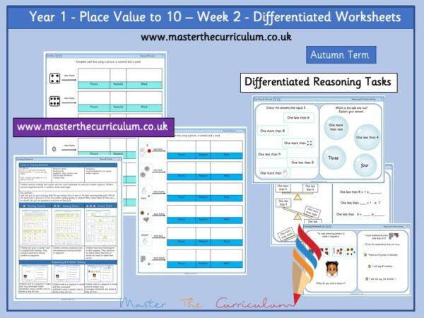 Year 1:Place value to 10 - Week 2 - Differentiated Worksheets