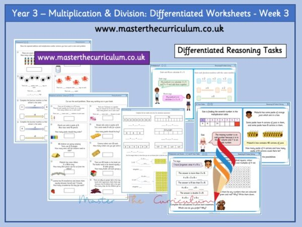 Year 3:Multiplication & Division - Differentiated Worksheets - Week 3