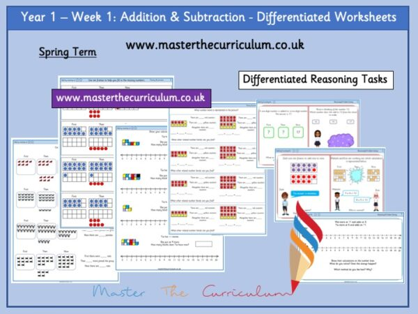 Year 1:Addition & Subtraction - Differentiated Worksheets - Week 1