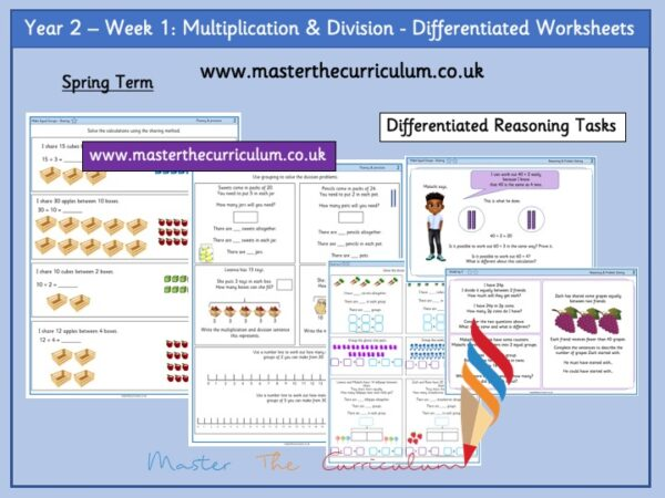 Year 2:Multiplication & Division - Differentiated Worksheets - Week 1