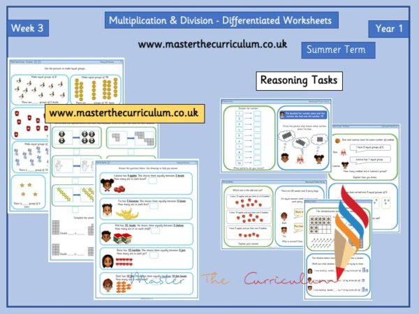 Year 1 – Summer – Week 3 – Editable Multiplication and Division Differentiated Sheets