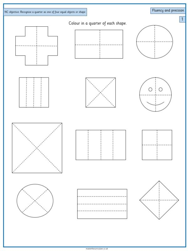 Year 1 Fractions Resources Free Resource Recognise, find and name a quarter - 3