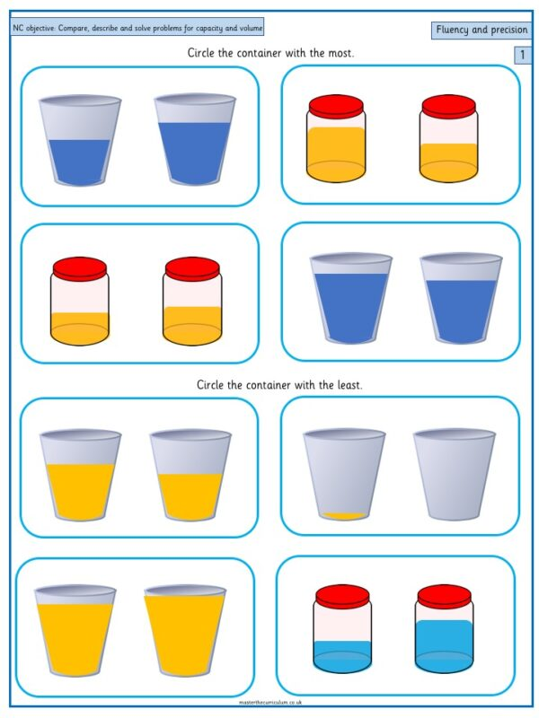 Year 1 Maths Free Resource Compare, describe and solve practical problems for capacity and volume - 3