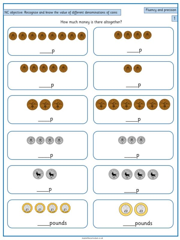 Year 1 Maths Free Resource Recognise and know the value - 3