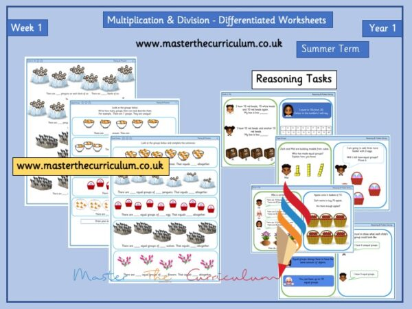 Year 1- Multiplication and Division Worksheets – Summer – Week 1