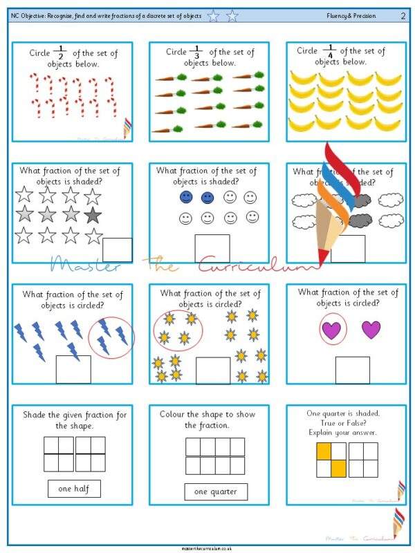 Year 2 Recognise, find and write fractions of a discrete set of objects (2)