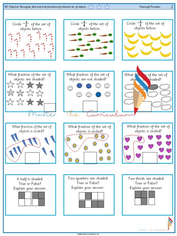 Year 2 Recognise, find and write fractions of a discrete set of objects (3)