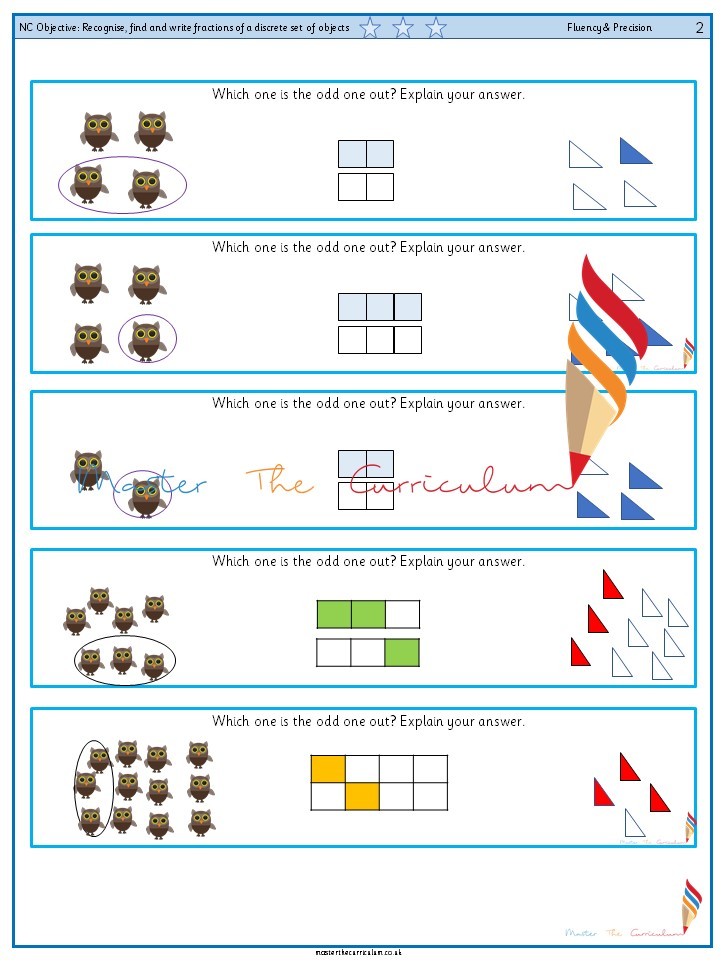 Year 2 Recognise, find and write fractions of a discrete set of objects (4)