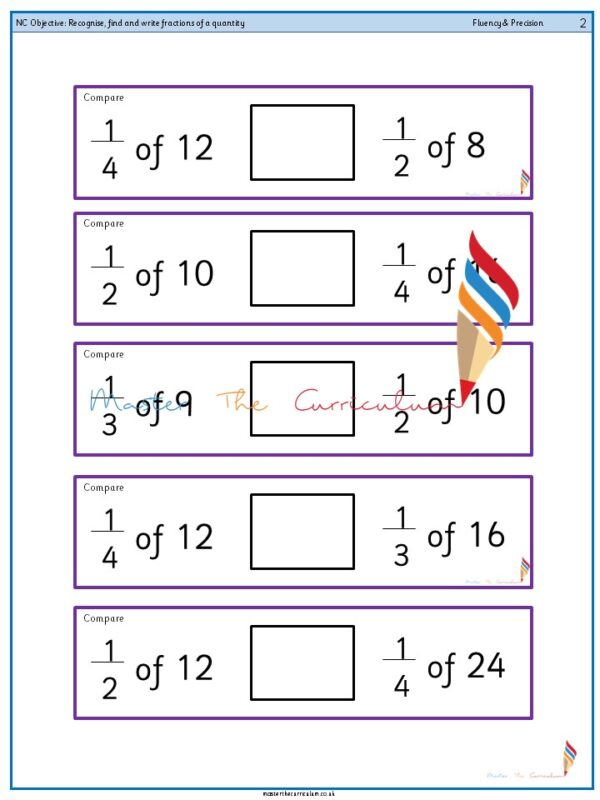Year 2 Recognise, find and write fractions of a quantity (4)