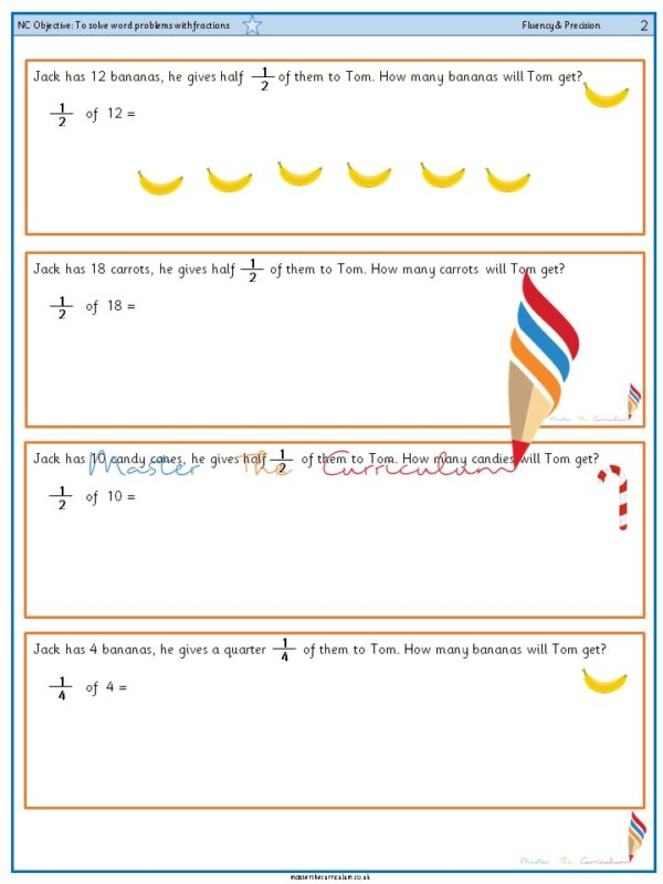 Year 2 To solve word problems with fractions (1)