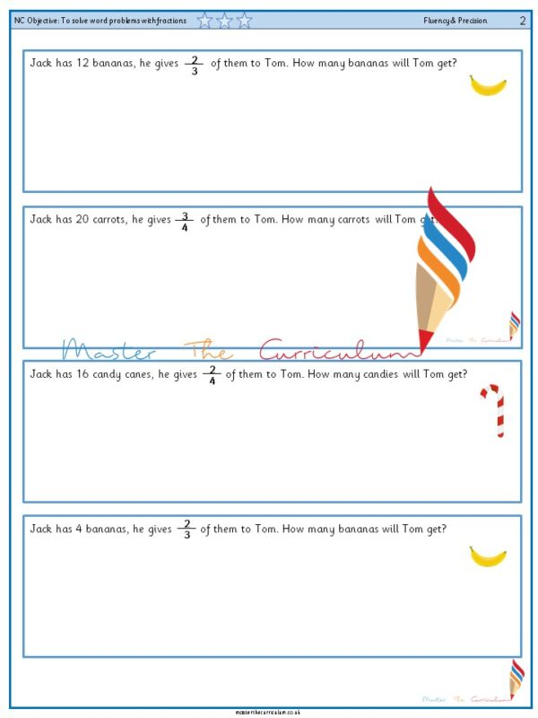 Year 2 To solve word problems with fractions (3)