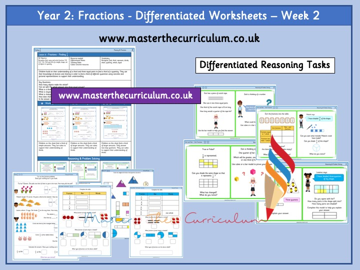 Year 2 fractions - Differentiated Worksheets - week 2