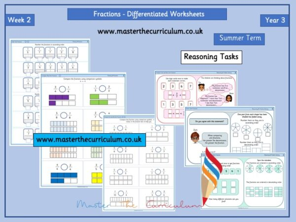 Year 3 – Summer – Week 2 – Editable Fractions Differentiated Sheets
