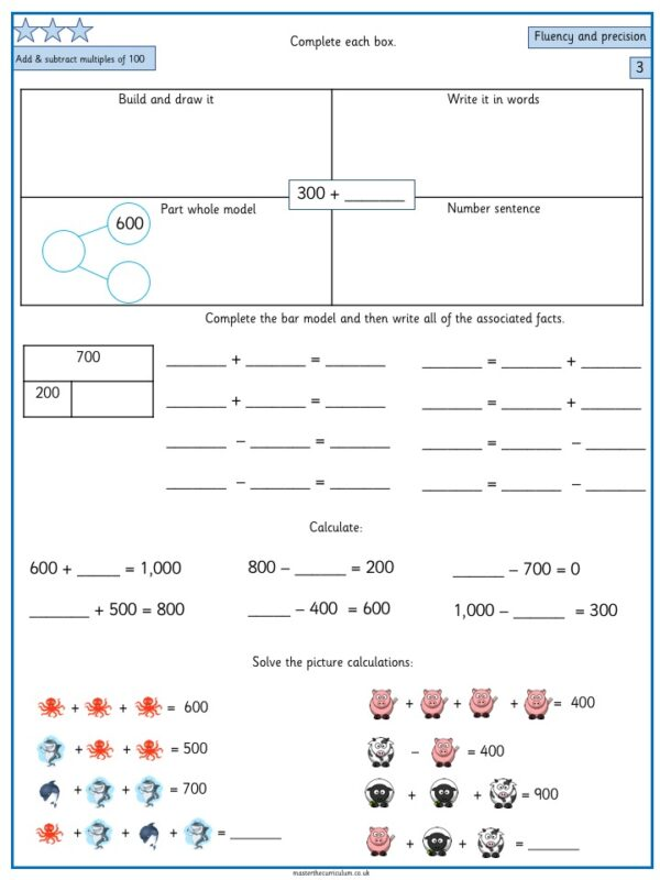 Year 3 – Week 1 Addition and Subtraction Editable Differentiated Worksheets 2