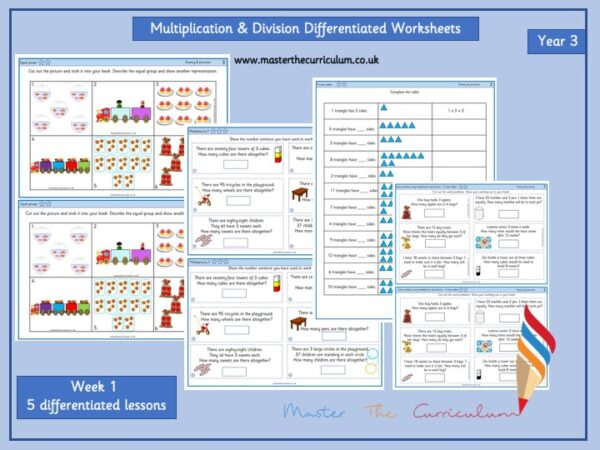 Year 3- Autumn- Week 1- Editable Multiplication & Division Differentiated Worksheets