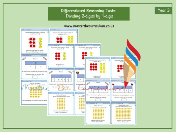Year 3- Dividing 2-Digit Numbers by 1-Digit Numbers Editable Differentiated Reasoning Tasks