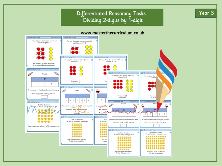Year 3- Dividing 2-Digit Numbers by 1-Digit Numbers Editable Differentiated Reasoning Tasks
