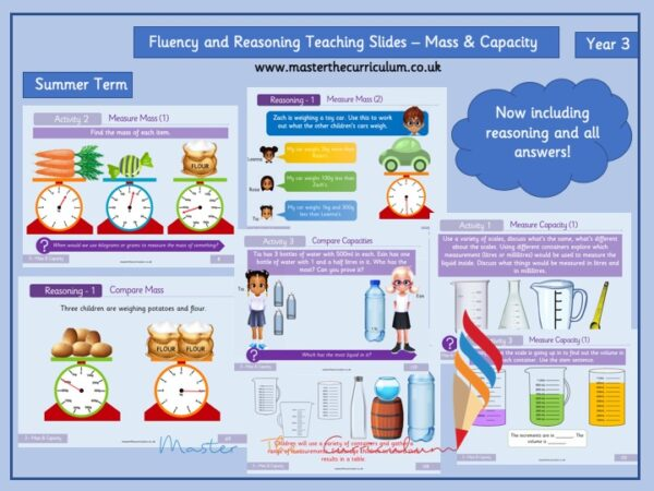 Year 3- Editable Mass and Capacity Fluency and Reasoning Teaching Slides