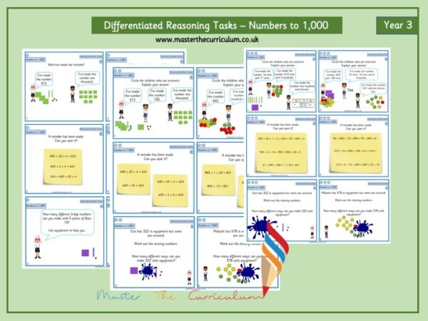 Year 3 Editable Place Value Reasoning Tasks- Numbers to 1,000