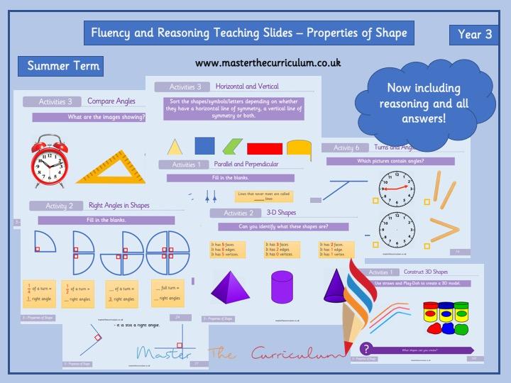Year 3- Editable Properties of Shape Fluency and Reasoning Teaching Slides