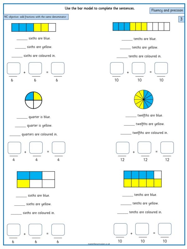 Year 3 Maths Fractions free Resources Add and subtract