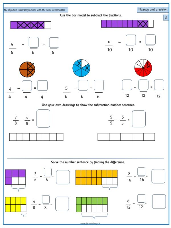 Year 3 Maths Fractions free Resources Add and subtract fractions with the same denominator within one whole - 1