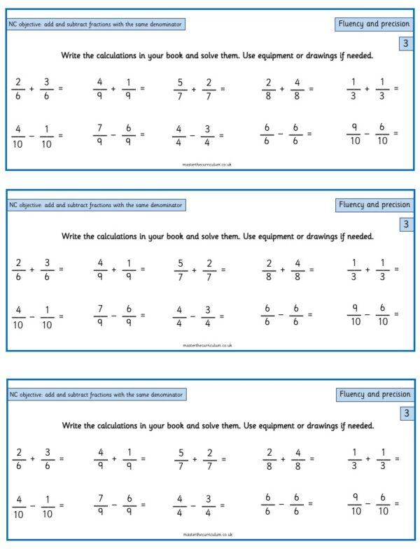 Year 3 Maths Fractions free Resources Add and subtract fractions with the same denominator within one whole - 2