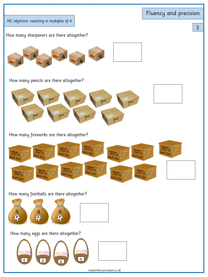 Year 3 Maths Number and Place Value Free Resources Count from 0 in multiples of 4 - 4