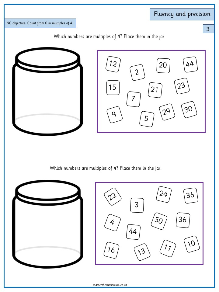 Year 3 Maths Number and Place Value Free Resources Count from 0 in multiples of 4 - 5