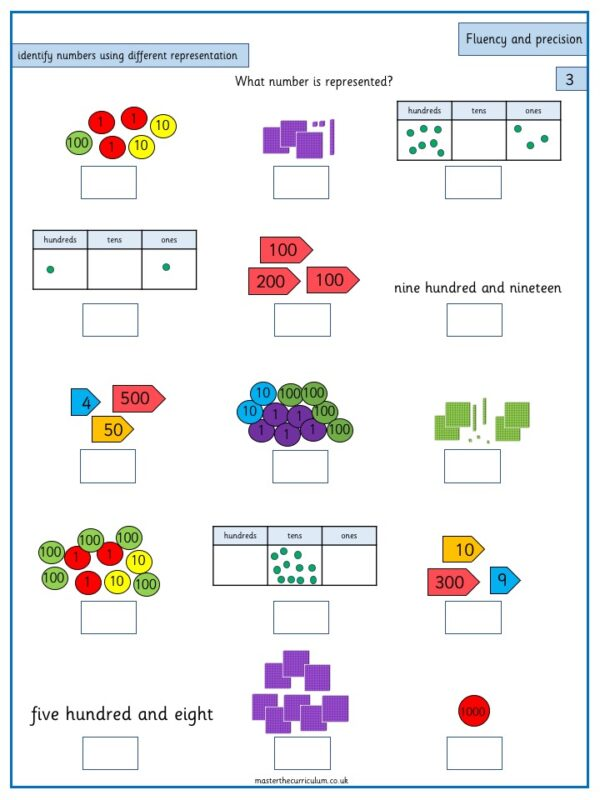 Year 3 Maths Number and Place Value Identify, represent and estimate numbers using different representations - 4