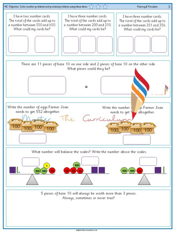 Year 3 Solve number problems and practical problems using these ideas (3)