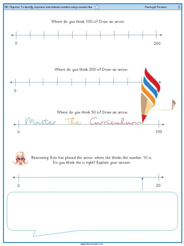 Year 3 To identify, represent and estimate numbers using a number line (2)