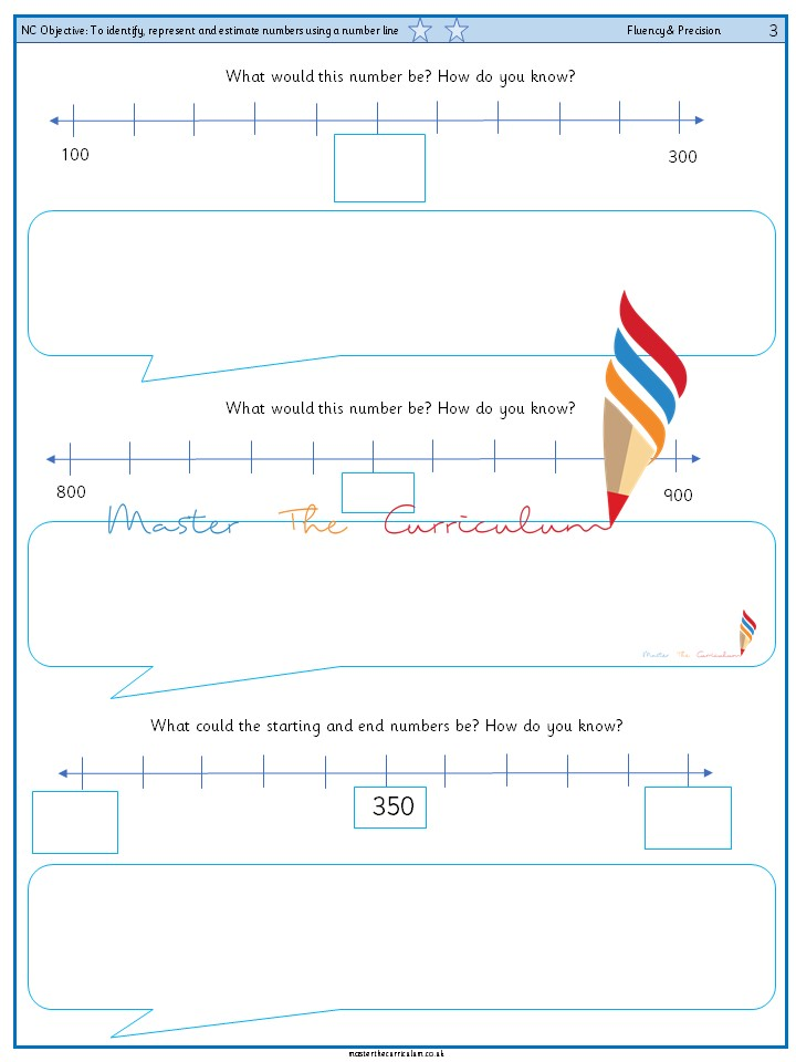 Year 3 To identify, represent and estimate numbers using a number line (3)