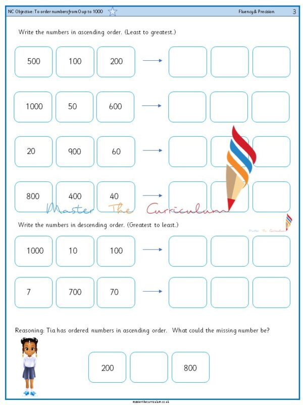 Year 3 To order numbers from 0 up to 1000 (1)