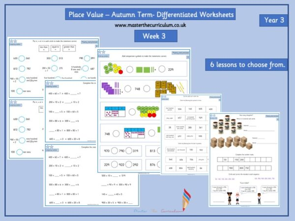 Year 3- Week 3 Editable Differentiated Place Value Worksheets