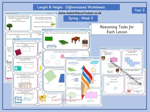 Year 3- Week 3- Editable Length & Perimeter -Differentiated Worksheets