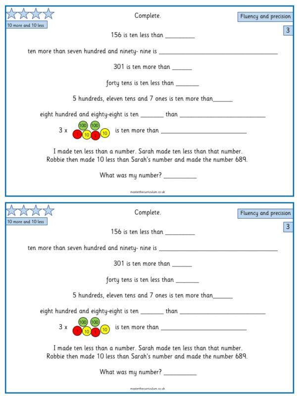 Year 3- week 1 & 2- 10 Editable Lessons of Place Value Worksheets 5