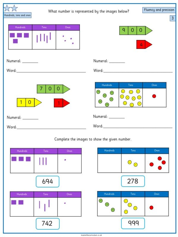 Year 3- week 1 & 2- 10 Editable Lessons of Place Value Worksheets 6