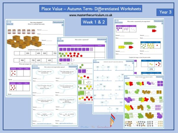 Year 3- week 1 & 2- 10 Editable Lessons of Place Value Worksheets