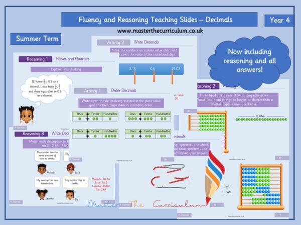 Year 4 – Summer Editable Decimal Teaching Slides – Fluency and Reasoning