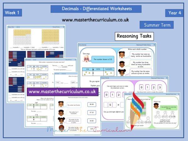 Year 4 – Week 1 – Editable Decimals Differentiated Worksheets – Summer Term