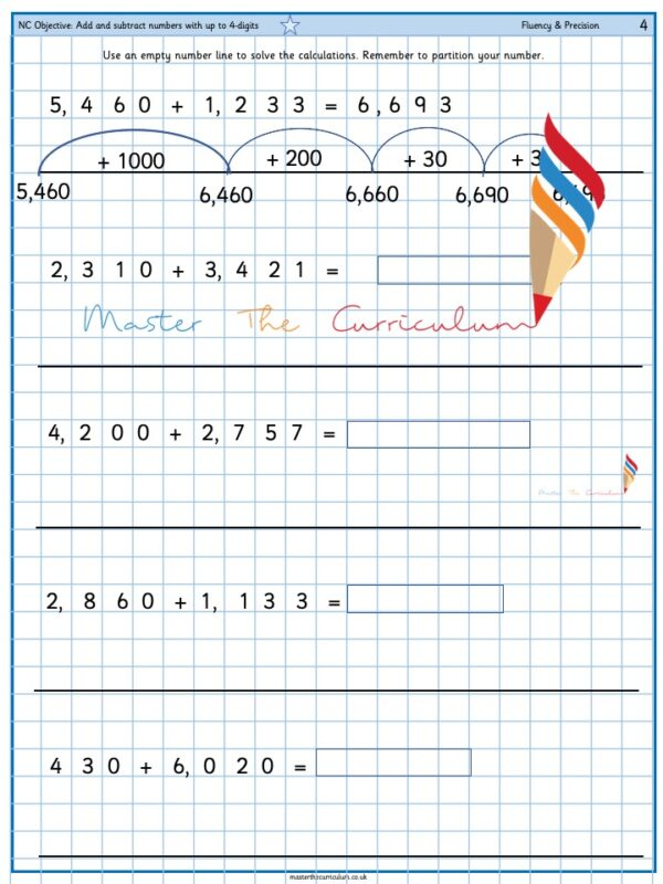 Year 4 Add and subtract numbers with up to 4-digits (9)