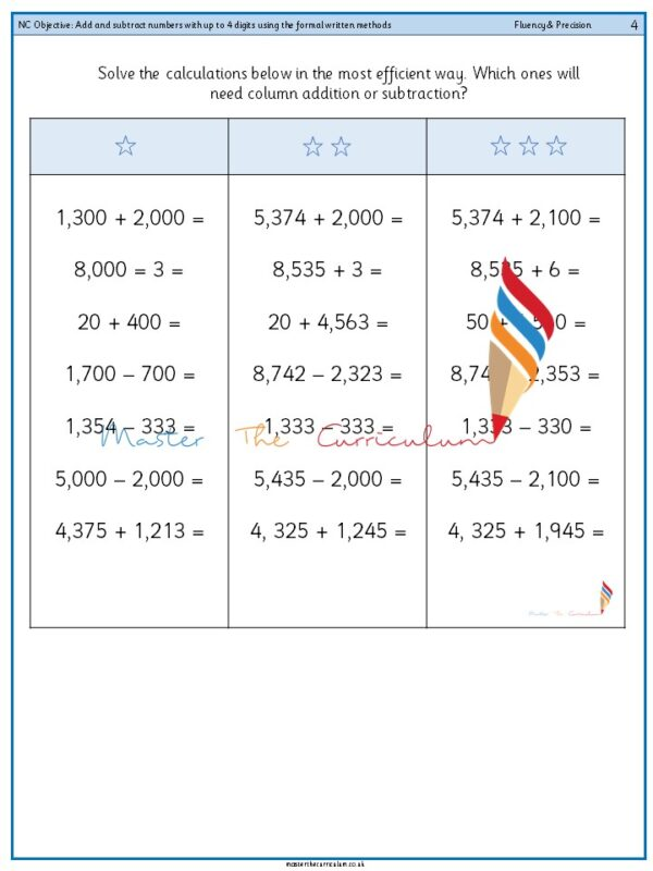 Year 4 Add and subtract numbers with up to 4 digits using the formal written methods (1)