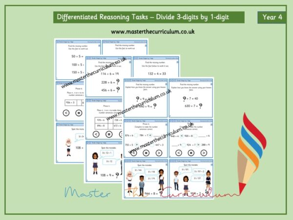 Year 4 Differentiated Reasoning Tasks – Dividing 3-digit numbers by 1 digit