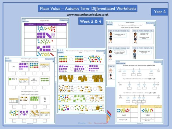 Year 4- Week 3 & 4 Editable Differentiated Place Value Worksheets