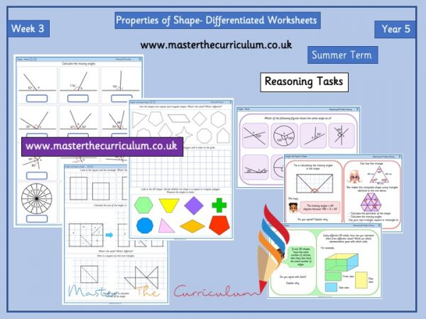 Year 5 – Summer – Week 3 – Editable Properties of Shape Differentiated Sheets