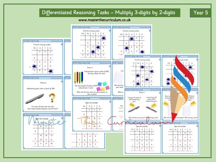 Year 5- Differentiated Multiplication Reasoning Tasks- 3-digit numbers by 2-digit numbers